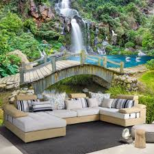 online get cheap wall paper sizes aliexpress com alibaba group beibehang custom any size 3d mural wallpaper small bridge running water nature landscape photo background wall