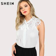 blouse band shein guipure lace applique neck top tops and blouses