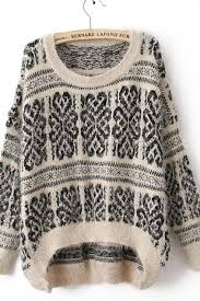 tribal sweater white sleeve tribal print mohair sweater cozbest lastest
