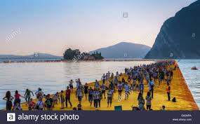 Floating Piers by The Floating Piers Christo Project Visitors Walking From Sulzano