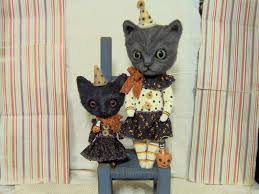 s reetzbears gray tabby cat clown and black kitty witch now on ebay