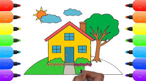 learn drawing house for kids teach coloring house tree sun cloud