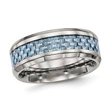 titanium wedding band reviews men s 8 0mm checker pattern blue carbon fiber inlay beveled edge