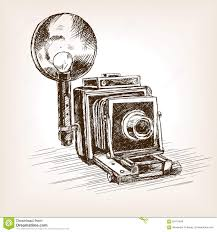 old photo camera sketch style vector illustration stock vector