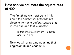 estimating square roots number line method