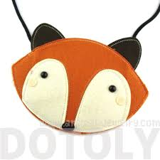 fox wolf face shaped xbody felt bag for kids in orange u2013 dotoly