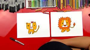how to draw a cartoon lion art for kids hub