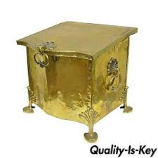 antique table ls ebay antique english victorian brass wood footed fireplace scuttle coal