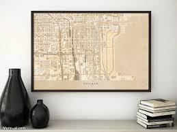 Map Room Chicago Il by Printable Map Of Chicago Illinois En Vintage Sepia Style U2013 Blursbyai
