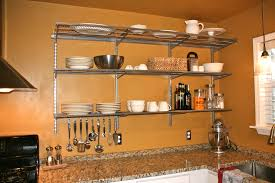 large stainless steel kitchen wall shelves with holder of