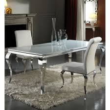 Louis Cm White And Chrome Dining Table With  Sliver Chairs - Chrome kitchen table