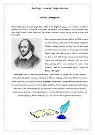 thanksgiving reading comprehension worksheets 30 free esl shakespeare worksheets