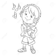 coloring page outline of cartoon boy in headphones listening