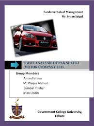 swot analysis of pak suzuki pakistan luxury vehicles
