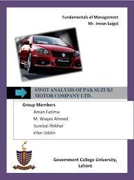 swot analysis of pak suzuki pakistan luxury vehicles