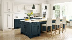 Ivory Colored Kitchen Cabinets Stately Shaker Painted Ivory U0026 Oxford Blue M Home Kitchen