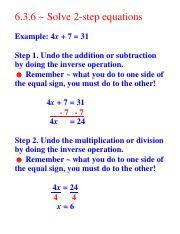 10 27 7a hw 6 3 6 solve 2 step equations example 4x 7 u003d 31
