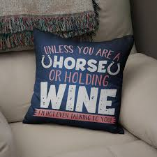 Equestrian Home Decor Equestrian Cushion Cover Horse Or Wine Horse Pillow Cover Horse