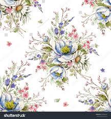 watercolor seamless pattern wild bunch pattern stock illustration