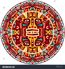 ethnic circle reminiscent mayan calendar aztec stock illustration