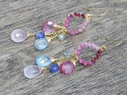 Pink Chandelier Earrings Pink And Blue Topaz Chandelier Earrings Pink Ruby Wire Wrapped