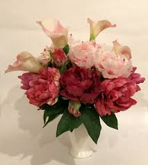 Peony Floral Arrangement Calla Lily And Peony Arrangement In Ceramic Provencal Vase Pink