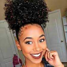 small afro puff buns hair pieces african american afro short kinky curly wrap drawstring puff