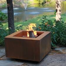Metal Firepit Mini Square Steel Outdoor Pit Contemporary Patio