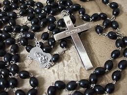 15 decade rosary 15 decade black wood bead rosary 52 inches 8mm metal wrap crucifix