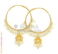 gold jhumka hoop earrings 22kt gold jhumkas hoops erhp8362 22kt gold jhumkas with