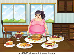 table full of food clipart of a fat lady in front of a table full of foods k14380010