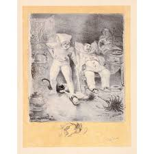 99 99 original french art lithograph by willette pencil signed