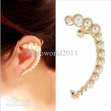 clip on earring online cheap fashion women personality crescent imitated pearl ear