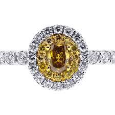 womens engagement rings womens yellow diamond oval engagement ring 14k white gold