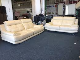 3 Seater Cream Leather Sofa Harveys Genoa White Cream Leather 3 And 2 Seater Sofa Set Three