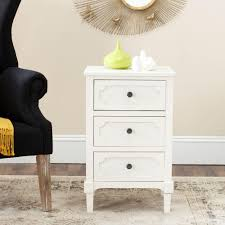 White End Tables For Bedroom Safavieh Rosaleen White Storage End Table Amh5723b The Home Depot