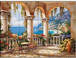 kitchen backsplash murals mediterranean terrace arch ceramic mural wall tile kitchen