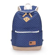 Wyoming womens travel bags images Navy blue polka dot fashion backpack women travel bags canvas jpg