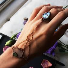 bracelet hand chain images Abalone shell and sea glass hand chain bracelet and ring mermaid jpg