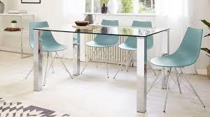 Rectangular Clear Glass Dining Table Chrome Legs UK - Chrome kitchen table
