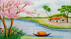 how to draw beautiful drawing world beautiful drawing nature scenery how to draw landscape