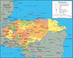 political map of central america and the caribbean honduras physical map