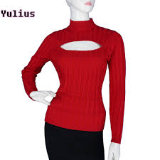 keyhole turtleneck aliexpress buy open chest sweaters harajuku women slim