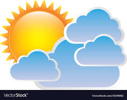 sticker sun with clouds icon royalty free vector image