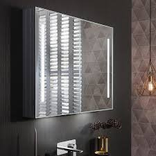 bathroom cabinets with lights bauhaus allure 900mm led illuminated mirrored cabinet mirrored