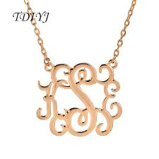 mongram necklace tdiyj high quality kse initial letter pendant monogram necklace