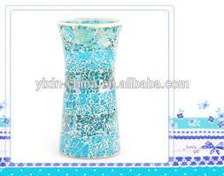 20 Glass Vase Ocean Style Blue Color Mosaic Crackle Glass 20