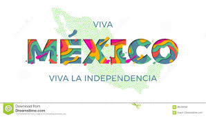 Mexico Flag Symbol Viva Mexico Lettering Independence Day Mexican Vector National