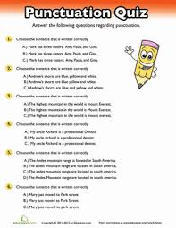 punctuation quiz worksheet education com