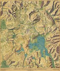 Montana Topographic Map by Overhead View Of Yellowstone National Park 1915